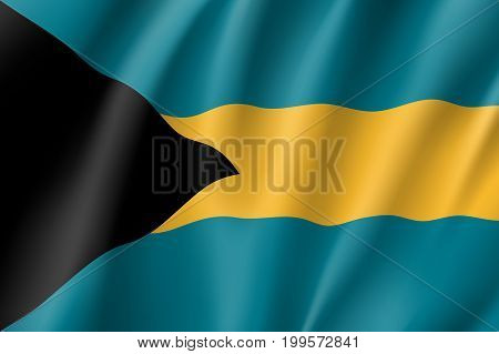 Flag Bahamas realistic icon. State insignia of the nation in realistic style on the entire page. Waving state flag. National symbol in the form of a vector illustration