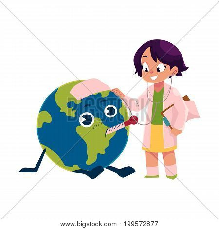 Girl playing doctor with Globe, Earth planet character, cartoon vector illustration isolated on white background. Girl in white coat treating, curing sick Globe character, Save the Earth concept