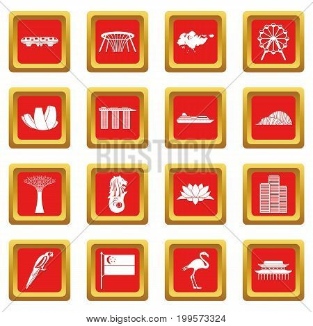 Singapore icons set in red color isolated vector illustration for web and any design