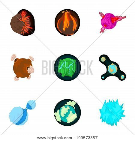 Fantastic planet icons set. Cartoon set of 9 fantastic planet vector icons for web isolated on white background