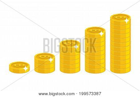 Profit growth cartoon style isolated. The increase of profit in gold bitcoins for designers and illustrators. Gold pieces income growth in the form of a vector illustration