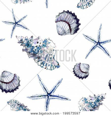 Seamless Marine Pattern With Shells And Starfish On White Background. Watercolor Painting.