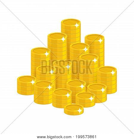 Gold coins mountain cartoon styl isolated. The mountain of shiny gold coins for designers and illustrators. The pile of gold pieces in the form of a vector illustration