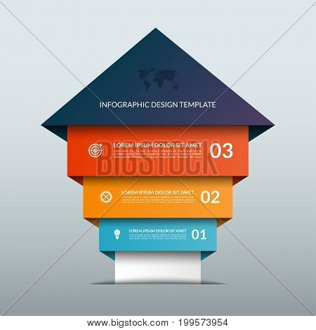 Up arrow infographic options banner. Business sucess staircase concept. Can be used for workflow layout, diagram, chart, number and step options, web design. Vector illustration