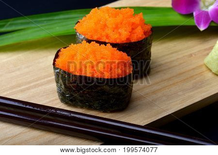 Sushi With Shrimp Roe Or Flying Fish Roe .