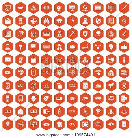 100 security icons set in orange hexagon isolated vector illustration