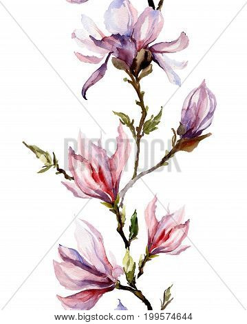 Pink Magnolia Flowers On A Twig On White Background. Seamless Pattern. Watercolor Painting.