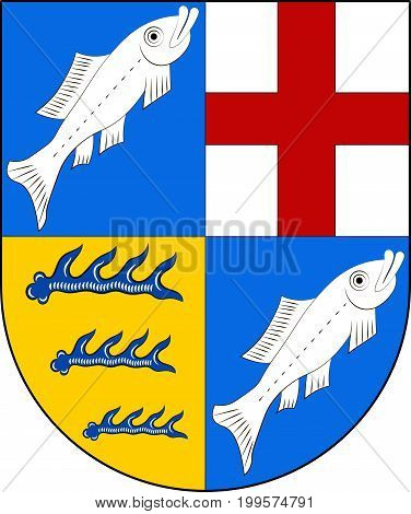 Coat of arms of Konstanz is a district in south of Baden-Wurttemberg of German. Vector illustration from the