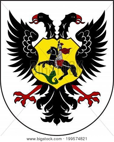 Coat of arms of Ortenaukreis is a district in the west of Baden-Wurttemberg Germany. Vector illustration from the