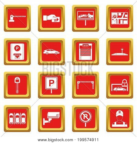 Car parking icons set in red color isolated vector illustration for web and any design