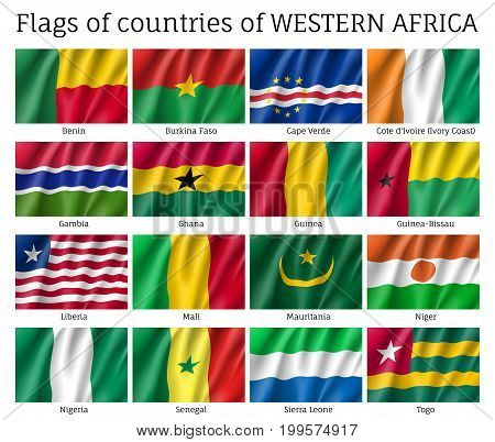 Western Africa flag set. National symbol of state, sovereignty and identity official element. Realistic style vector illustration on white background