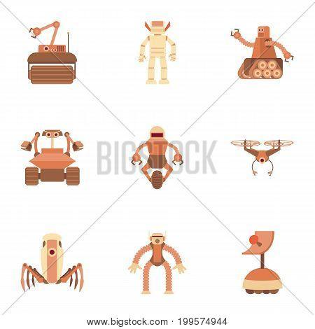 Electronic monster icons set. Cartoon set of 9 electronic monster vector icons for web isolated on white background