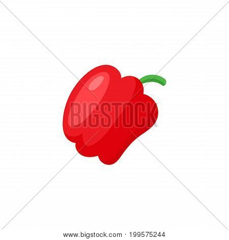 Comic style red bell pepper vegetable, cartoon vector illustration isolated on white background. Simple cartoon style red color bell pepper vegetable