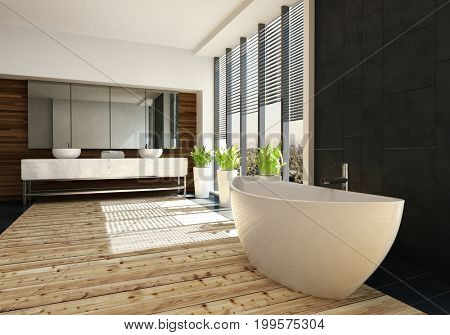 Very spacious luxury bathroom interior with a freestanding boat shaped tub on a light wood floor and double wall mounted vanity in the background. 3d rendering.