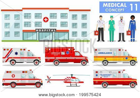 Professions of people. Detailed illustration of hospital building, ambulance cars helicopter, emergency doctor and medical people in flat style on white background.
