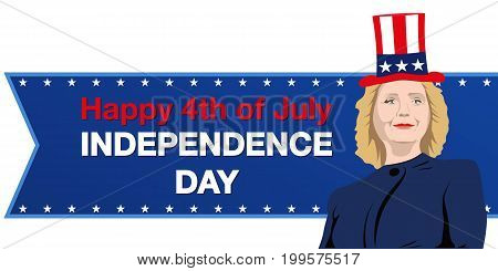August 14, 2017 A vector illustration of Democrat presidential candidate Hillary Clinton who congratulates Independence Day
