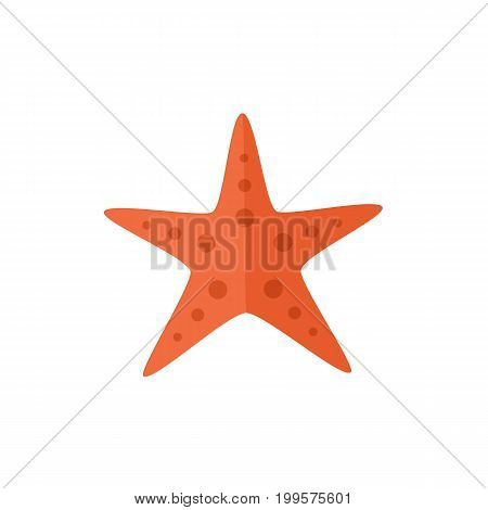 Simple red textured starfish, star fish, flat cartoon vector illustration isolated on white background. Simple flat cartoon starfish, nautical decoration element