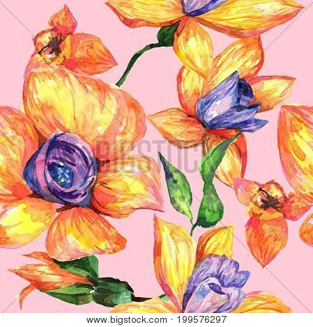Wildflower orchid flower pattern in a watercolor style. Full name of the plant: orchid. Aquarelle wild flower for background, texture, wrapper pattern, frame or border.