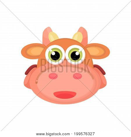 Back to school things for study - an unusual stylized briefcase on the webbing for a cartoon animal. Cartoon cow vector illustration.