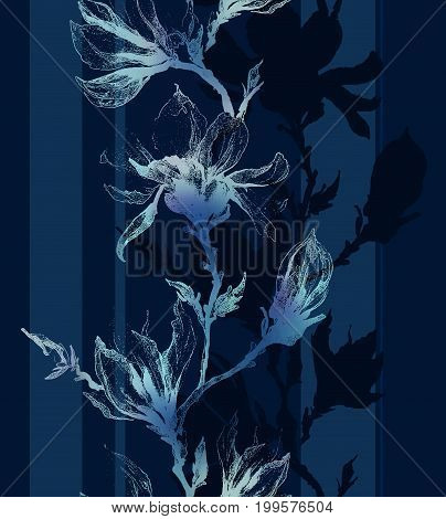 Light Contour Of Magnolia Flowers On A Twig And Vertical Lines On Dark Sapphire Blue Background. Sea