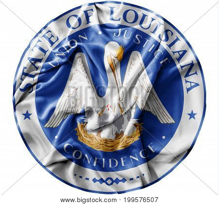 Ruffled waving United States Louisiana Seal flag