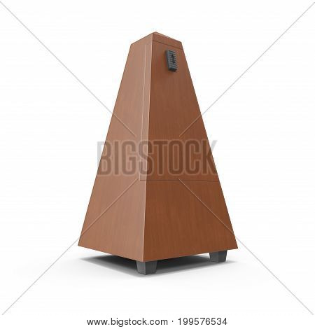 Classic old metronome isolated on white background. 3D illustration