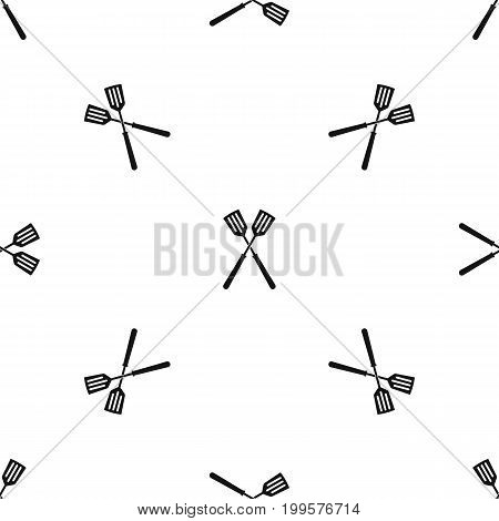 Two metal spatulas pattern repeat seamless in black color for any design. Vector geometric illustration