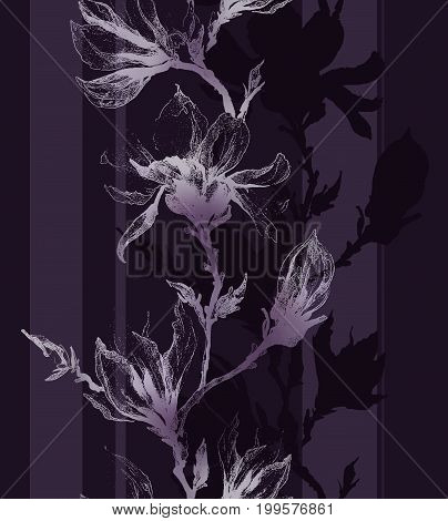 Light Violet Contour Of Magnolia Flowers On A Twig And Vertical Lines On Dark Purple Background. Sea