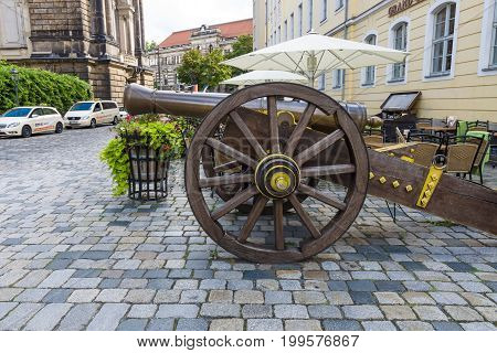 DRESDEN GERMANY - SEPTEMBER 09 2015: Ancient cannon of the 17th century on the square Neumarkt. Dresden is the capital city of the Free State of Saxony.