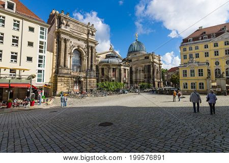 DRESDEN GERMANY - SEPTEMBER 09 2015: Square Neumarkt in the old town. Dresden is the capital city of the Free State of Saxony.