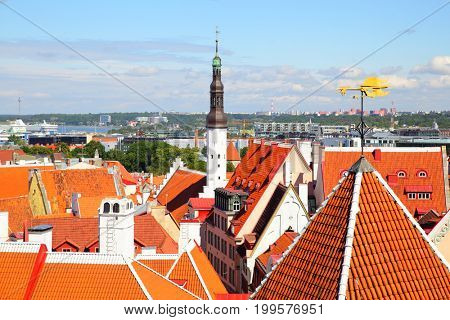 Cityscape of Tallin with Holy Spirit Church tower and rooster vane, Estonia