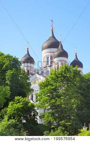 The Alexander Nevsky Cathedral in the Old Town of Tallin, Estonia
