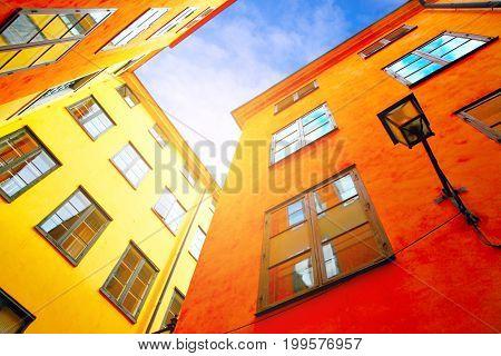 Colorful houses and old street of Stockholm, Sweden. Urban landscape