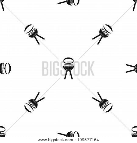 Barbecue grill pattern repeat seamless in black color for any design. Vector geometric illustration