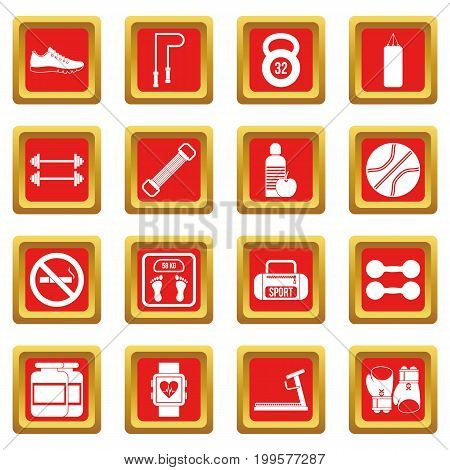 Gym icons set in red color isolated vector illustration for web and any design
