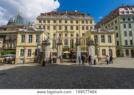 DRESDEN GERMANY - SEPTEMBER 09 2015: The old streets in the historic center. Dresden is the capital city of the Free State of Saxony.