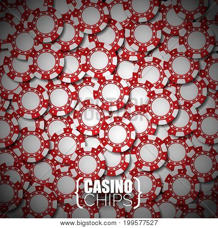 Vector Illustration On A Casino Theme With Red Playing Chips.