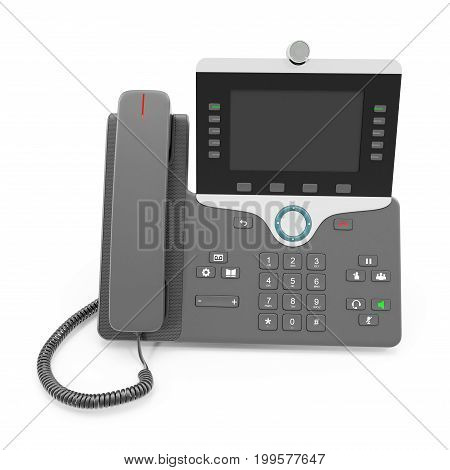 VOIP phone IP phone isolated on a white background. 3D illustration