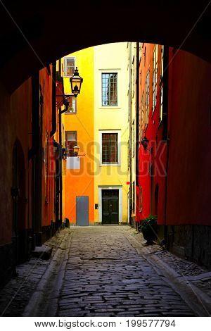 Gateway in Old town of Stockholm, Sweden. Frame composition
