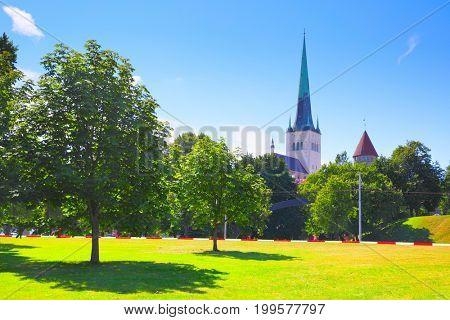 Park near Old town of Tallin, Estonia