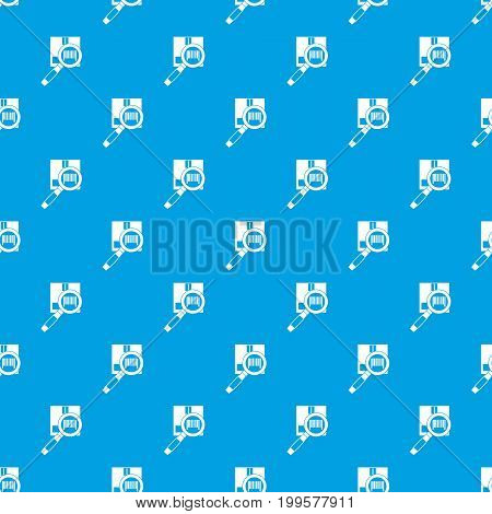 Magnifier and diskette pattern repeat seamless in blue color for any design. Vector geometric illustration