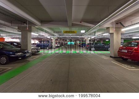 DRESDEN GERMANY - SEPTEMBER 09 2015: Multi-level parking in the shopping center