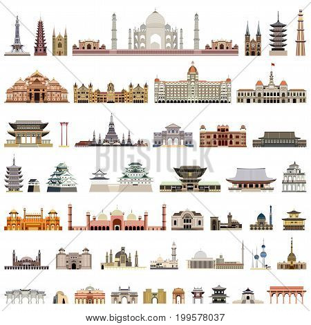 vector collection high detailed isolated city halls, parliament houses and administrative buildings