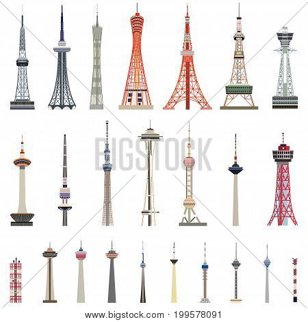 vector collection of high towers vector illustration
