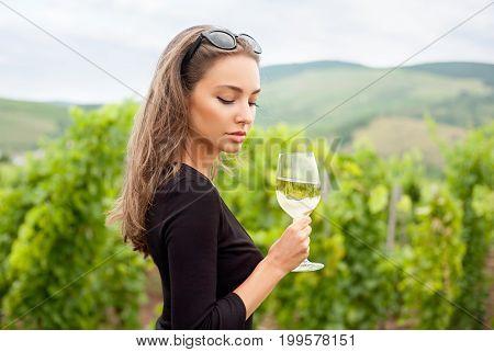 Brunette Beauty Having Wine Fun.