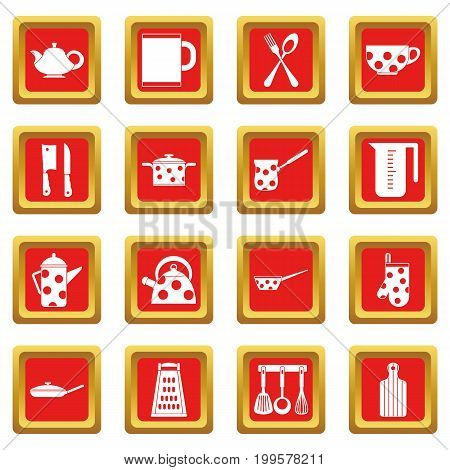 Kitchen tools and utensils icons set in red color isolated vector illustration for web and any design