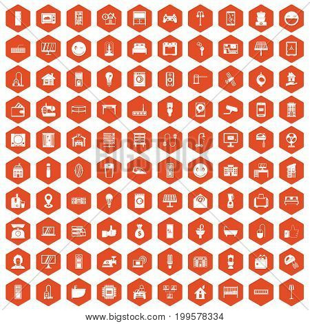 100 smart house icons set in orange hexagon isolated vector illustration