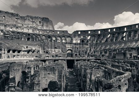 Inside Colosseum view, the world known landmark and the symbol of Rome, Italy.