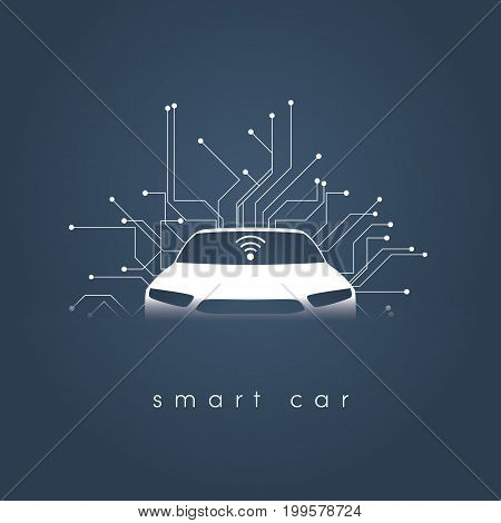 Smart or intelligent car vector concept. Futuristic automotive technology with autonomous driving, driverless cars. Eps10 vector illustration.
