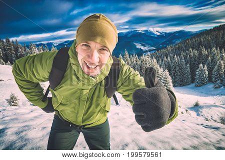 Happy Active Hiker. Instagram Stylization